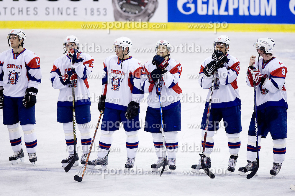 David Rodman, Klemen Pretnar, Bostjan Golicic, Mitja Sivic, Marcel Rodman and Ziga Jeglic of Slovenia at IIHF Ice-hockey World Championships Division I Group B match between National teams of Slovenia and Poland, on April 17, 2010, in Tivoli hall, Ljubljana, Slovenia. (Photo by Vid Ponikvar / Sportida)