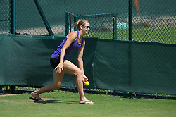 LONDON, ENGLAND - Saturday, July 3rd, 2010: Lucie Safarova, girlfriend of Tomas Berdych (CZE), practices as a ball-girl as she watches Tomas train ahead of his Men's Singles Final on day twelve of the Wimbledon Lawn Tennis Championships at the All England Lawn Tennis and Croquet Club. (Pic by David Rawcliffe/Propaganda)