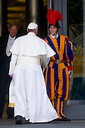 Vatican City may 16th 2016, 69th CEI (Italian Episcopal Conference) meeting. In the picture pope Francis greets a swiss guard
