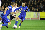 AFC Wimbledon attacker Harry Forrester (11) dribbling during the EFL Trophy match between AFC Wimbledon and Tottenham Hotspur at the Cherry Red Records Stadium, Kingston, England on 3 October 2017. Photo by Matthew Redman.