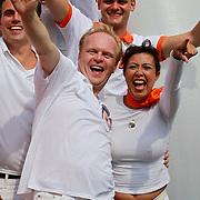 NLD/Amsterdam/20110806 - Canalpride Gaypride 2011, Frits Huffnagel en Sandra Reemer