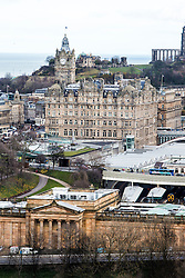 Scottish National Gallery, The Balmoral Hotel and Calton Hill, Edinburgh as seen from the Edinburgh Castle Esplanade.