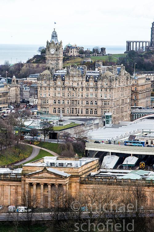 Scottish National Gallery, The Balmoral Hotel and Calton Hill, Edinburgh as seen from the Edinburgh Castle Esplanade.