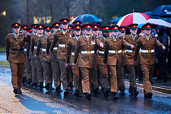 © Licensed to London News Pictures. 12/01/2017. CARTERTON, UK.  Friends, family and colleagues pay their respects during the repatriation ceremony for Lance Corporal Scott Hetherington, of 2nd Battalion The Duke of Lancaster's Regiment, who died in Iraq on Monday 2 January 2017, following an incident at Camp Taji, north of Baghdad, in Iraq.  Photo credit: Cliff Hide/LNP