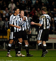 Photo. Jed Wee, Digitalsport<br /> Newcastle United v Olympiacos, UEFA Cup, 16/03/2005.<br /> Newcastle's Lee Bowyer celebrates.