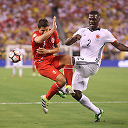 EAST RUTHERFORD, NEW JERSEY - JUNE 17: Aldo Corzo #3 of Peru is tackled by Cristian Zapata #2 of Colombia during the Colombia Vs Peru Quarterfinal match of the Copa America Centenario USA 2016 Tournament at MetLife Stadium on June 17, 2016 in East Rutherford, New Jersey. (Photo by Tim Clayton/Corbis via Getty Images)