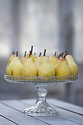 Still life with Pears on a glass cake stand