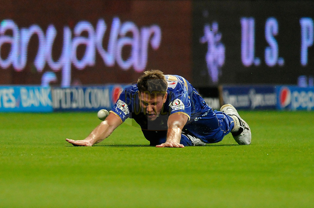 James Faulkner of the Rajatshan Royals fields at the boundary line during match 19 of the Pepsi Indian Premier League 2014 Season between The Kolkata Knight Riders and the Rajasthan Royals held at the Sheikh Zayed Stadium, Abu Dhabi, United Arab Emirates on the 29th April 2014<br /> <br /> Photo by Pal Pillai / IPL / SPORTZPICS