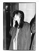 Gillian Wearing having a cig outside just before prize announced (she won) 1997 Turner prize Dinner Tate Gallery, London 2 Dec 97© Copyright Photograph by Dafydd Jones 66 Stockwell Park Rd. London SW9 0DA Tel 020 7733 0108 www.dafjones.com