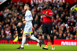 Romelu Lukaku of Manchester United is marked by Richard Keogh of Derby County - Mandatory by-line: Robbie Stephenson/JMP - 25/09/2018 - FOOTBALL - Old Trafford - Manchester, England - Manchester United v Derby County - Carabao Cup