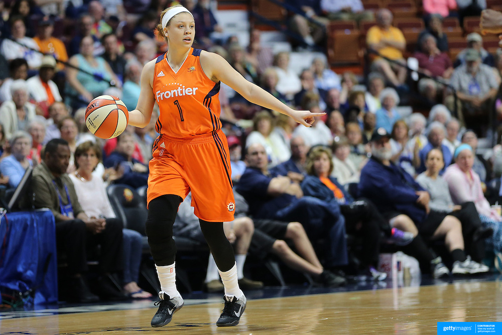 UNCASVILLE, CONNECTICUT- JUNE 3:   Rachel Banham #1 of the Connecticut Sun in action during the Atlanta Dream Vs Connecticut Sun, WNBA regular season game at Mohegan Sun Arena on June 3, 2016 in Uncasville, Connecticut. (Photo by Tim Clayton/Corbis via Getty Images)