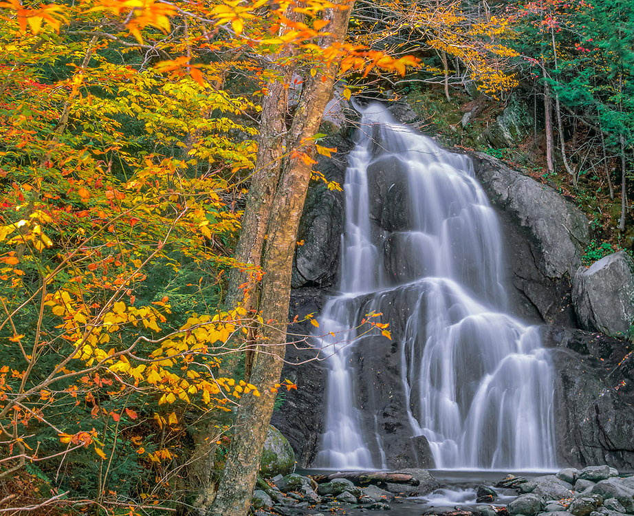 Moss Glen Falls with fall foliage, Granville, VT