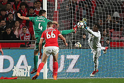 February 3, 2018 - Lisbon, Portugal - Benfica's Portuguese goalkeeper Bruno Varela vies with Rio Ave's defender Nelson Monte (L) during the Portuguese League football match SL Benfica vs Rio Ave FC at the Luz stadium in Lisbon on February 3, 2018. (Credit Image: © Pedro Fiuza/NurPhoto via ZUMA Press)