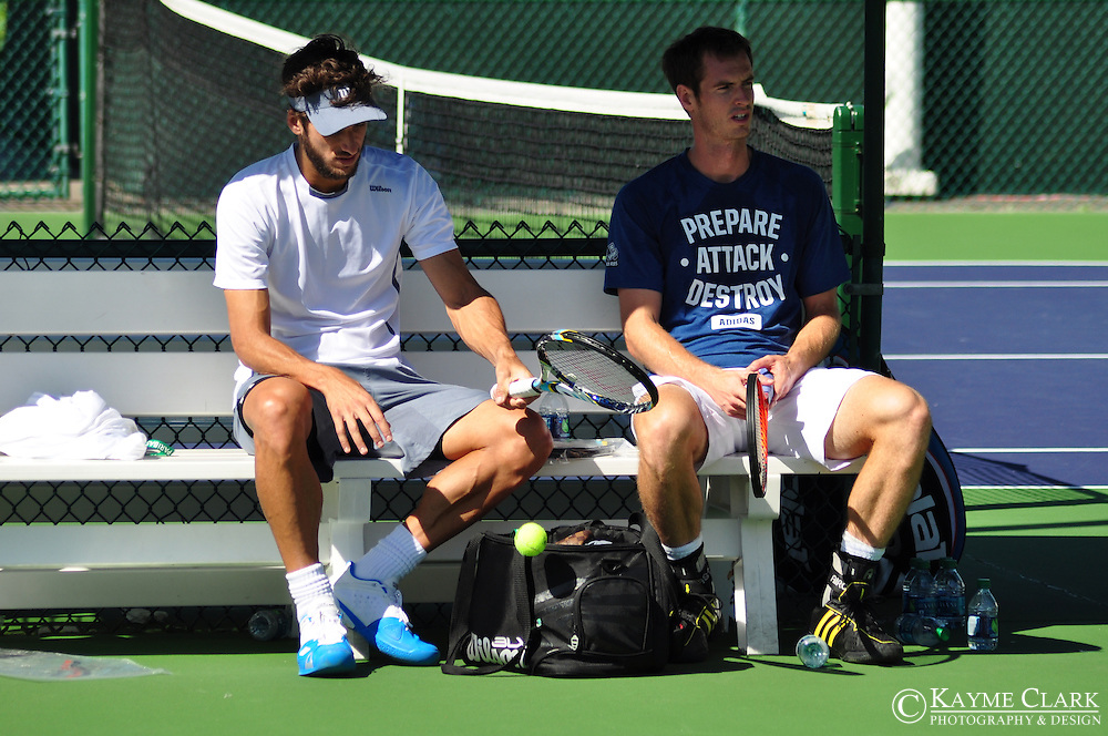 Feliciano Lopez and Andy Murray at the BNP Paribas Open in Indian Wells, California.
