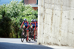 Ane Santesteban (ESP) leads WNT Rotor Pro Cycling up the final climb at Stage 1 of 2019 Giro Rosa Iccrea, an 18 km team time trial from Cassano Spinola to Castellania, Italy on July 5, 2019. Photo by Sean Robinson/velofocus.com