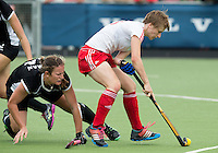 BREDA (Neth.)  Pippa Norman (l) of NZ with Eleanor Rayer of England during the match  New Zealand vs England U21 women . Volvo Invitational Tournament U21. COPYRIGHT KOEN SUYK