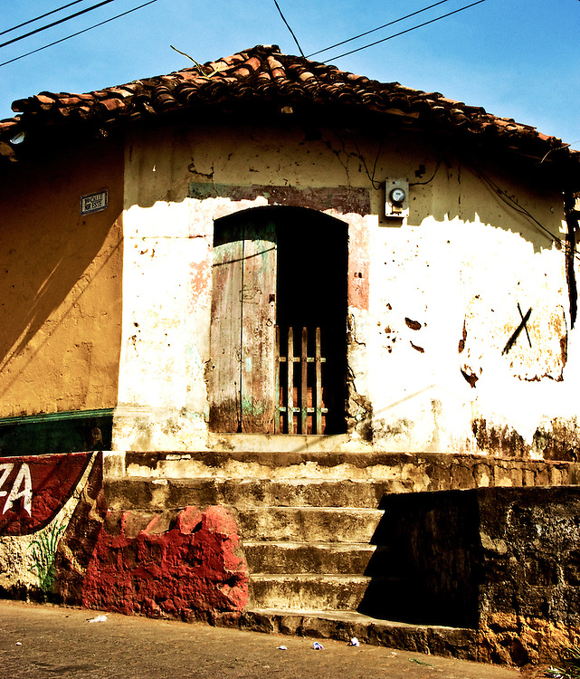 A front entryway with a lot of character on the streets of Leon, Nicaragua.