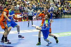 Miha Zarabec of Slovenia during handball match between National teams of Slovenia and Netherlands in Qualifications of 2020 Men's EHF EURO, on April 14, 2019, in Arena Zlatorog, Celje, Slovenia. Photo by Vid Ponikvar / Sportida