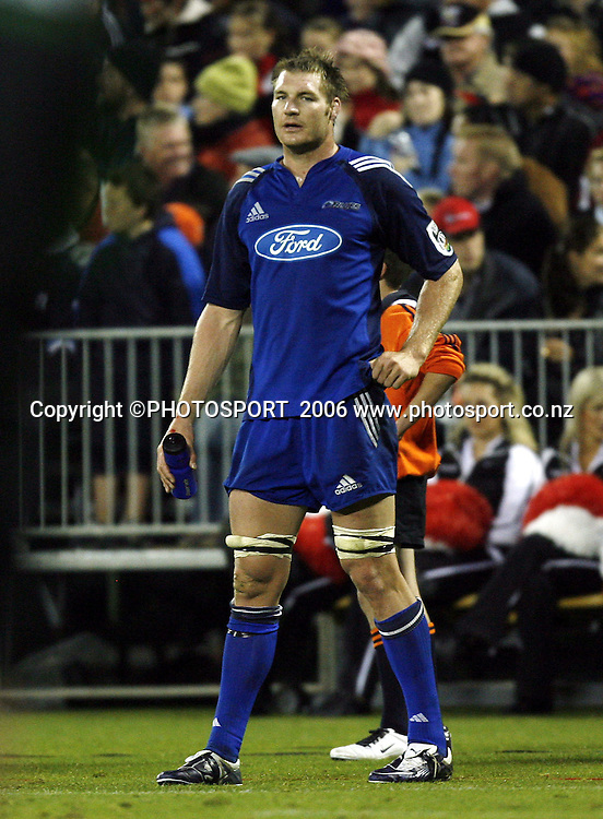 Ali Williams watches from the sideline after getting a yellow card during the 2006 Super 14 Rugby Union match won by the Crusaders over the Blues 39-10 at Jade Stadium, Christchurch, on Saturday 4 March 2006. Photo: Anthony Phelps/PHOTOSPORT