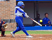 Hampton University Lady Pirate third baseman Bre'Anna Brown strokes this double during the second game Hampton's doubleheader split against Morgan State University at the Lady Pirates Softball Complex on the campus of Hampton University in Hampton, Virginia.  (Photo by Mark W. Sutton)