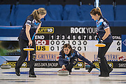 "Glasgow. SCOTLAND.  Scotland ""Skip"", Eve MUIRHEAD, , playing a ""Stone""  during  the ""Round Robin"" Game.  Scotland vs Russia,  Le Gruyère European Curling Championships. 2016 Venue, Braehead  Scotland<br /> Thursday  24/11/2016<br /> <br /> [Mandatory Credit; Peter Spurrier/Intersport-images]"