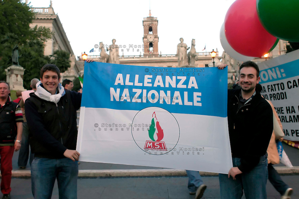 Rome  April 28, 2008 .Supporters of center-right candidate for Rome mayor Gianni Alemanno jubilate in Rome's  Campidoglio