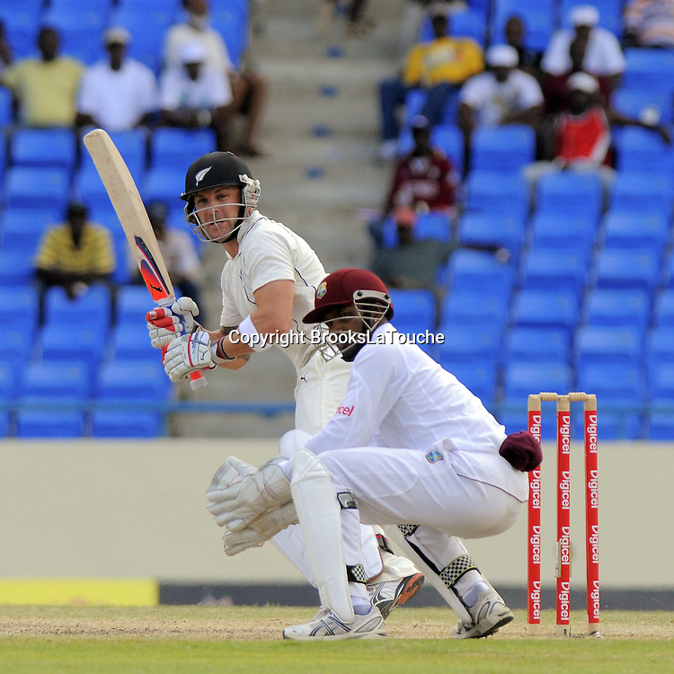 Brendon McCullum leg glance off Narine - Day 4 of the first test West Indies v New Zealand at Sir Vivian Richards Stadium, Antigua, West Indies.<br /> 28 July 2012. Photo;Randy Brooks/Photosport.co.nz