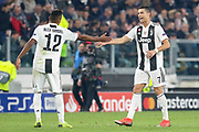 Juventus Defender Alex Sandro shakes hands and congratulates goal scorer Juventus Forward Cristiano Ronaldo during the Champions League Group H match between Juventus FC and Manchester United at the Allianz Stadium, Turin, Italy on 7 November 2018.