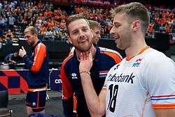 13-09-2019 NED: EC Volleyball 2019 Netherlands - Montenegro, Rotterdam<br /> First round group D Netherlands win 3-0 / Ewoud Gommans #9 of Netherlands, Robbert Andringa #18 of Netherlands