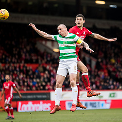 Aberdeen v Celtic, SPrem, 25th February 2018<br /> <br /> Aberdeen v Celtic, SPrem, 25th February 2018 &copy; Scott Cameron Baxter | SportPix.org.uk<br /> <br /> Anthony O'Connor beats Scott Brown in the air.