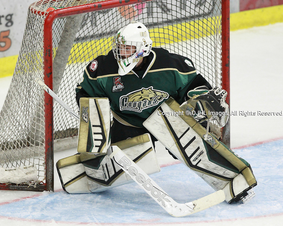 COBOURG, ON  - OCT 3,  2016: Ontario Junior Hockey League game between Newmarket and Cobourg, Stefano Durante #29 of the Cobourg Cougars follows the play during the first period.<br /> (Photo by Tim Bates / OJHL Images)