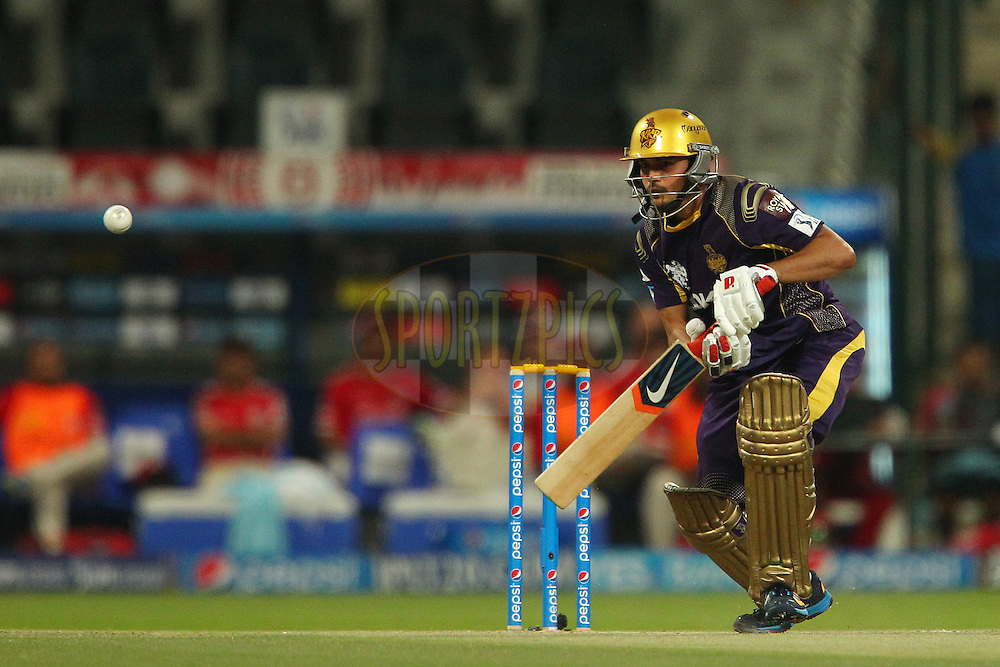 Manish Pandey of the Kolkata Knight Riders during match 15 of the Pepsi Indian Premier League 2014 Season between The Kings XI Punjab and the Kolkata Knight Riders held at the Sheikh Zayed Stadium, Abu Dhabi, United Arab Emirates on the 26th April 2014<br /> <br /> Photo by Ron Gaunt / IPL / SPORTZPICS