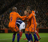 9th November 2017, Pittodrie Stadium, Aberdeen, Scotland; International Football Friendly, Scotland versus Netherlands; Holland's Memphis Depay is congratulated after scoring for 1-0
