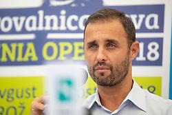 Aljaz Kos, director of ATP Challenger Zavarovalnica Sava Slovenia Open 2018 at Press conference before ATP Challenger Portoroz 2018, on July 17, 2018 in Ljubljana, Slovenia. Photo by Urban Urbanc / Sportida
