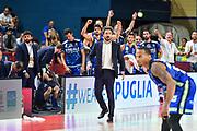 Gianmarco Pozzecco, Esultanza Panchina, Banco di Sardegna Dinamo Sassari<br /> Banco di Sardegna Dinamo Sassari - Umana Reyer Venezia<br /> Finale Zurich Connect Supercoppa LBA 2019<br /> Bari, 22/09/2019<br /> Foto L.Canu / Ciamillo-Castoria
