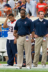 Richmond head coach Mike London on the sidelines against Virginia.  London was the defensive coordinator for Virginia until leaving in 2008 to head coach Richmond.  The Virginia Cavaliers defeated the #3 ranked (NCAA Division 1 Football Championship Subdivision) Richmond Spiders 16-0 in a NCAA football game held at Scott Stadium on the Grounds of the University of Virginia in Charlottesville, VA on September 6, 2008.