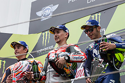 June 17, 2018 - Barcelone, Espagne - vMARC MARQUEZ - SPANISH - REPSOL HONDA TEAM - HONDA.JORGE LORENZO - SPANISH - DUCATI TEAM - DUCATI.VALENTINO ROSSI - ITALIAN - MOVISTAR YAMAHA MotoGP - YAMAHA (Credit Image: © Panoramic via ZUMA Press)