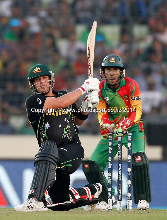 Aaron Finch batting - Bangladesh v Australia, Shere Bangla National Stadium, Mirpur, Bangladesh. 1 April 2014. Photo: www.photosport.co.nz