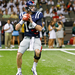 September 22, 2012; New Orleans, LA, USA; Ole Miss Rebels quarterback Bo Wallace (14) against the Tulane Green Wave during a game at the Mercedes-Benz Superdome. Ole Miss defeated Tulane 39-0. Mandatory Credit: Derick E. Hingle-US PRESSWIRE