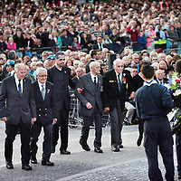 Nederland, Amsterdam , 4 mei 2015.<br /> Dodenherdenking op de Dam.<br /> Op de foto: Oud veteranen bij de kranslegging.<br /> Netherlands, Amsterdam, Remembrance Day 1940-1945 on the Dam Amsterdam in the presence of the king and queen.