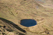 Llyn Cwm Llwch lake from the summit of Pen Y Fan mountain in Brecon Beacons National Park, Wales, Powys, United Kingdom.  Llyn Cwm Llwch is the best preserved glacial lake in South Wales and sits right at the head of the Cwm Llwch valley – part of the Brecon Beacons Site of Special Scientific Interest (SSSI) and a Geological Conservation Review (GCR) site granted because of the special contribution they make to Britain's geological history.  (photo by Andrew Aitchison / In pictures via Getty Images)