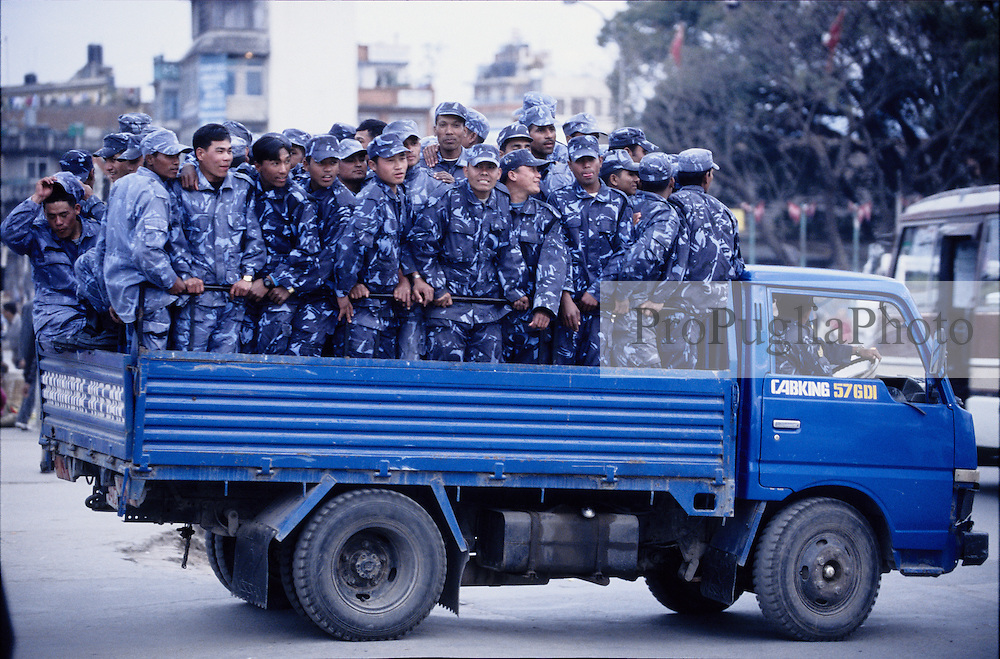 Truck carryng Policemen in Kathmandu during  the nation's Demecratic Day...