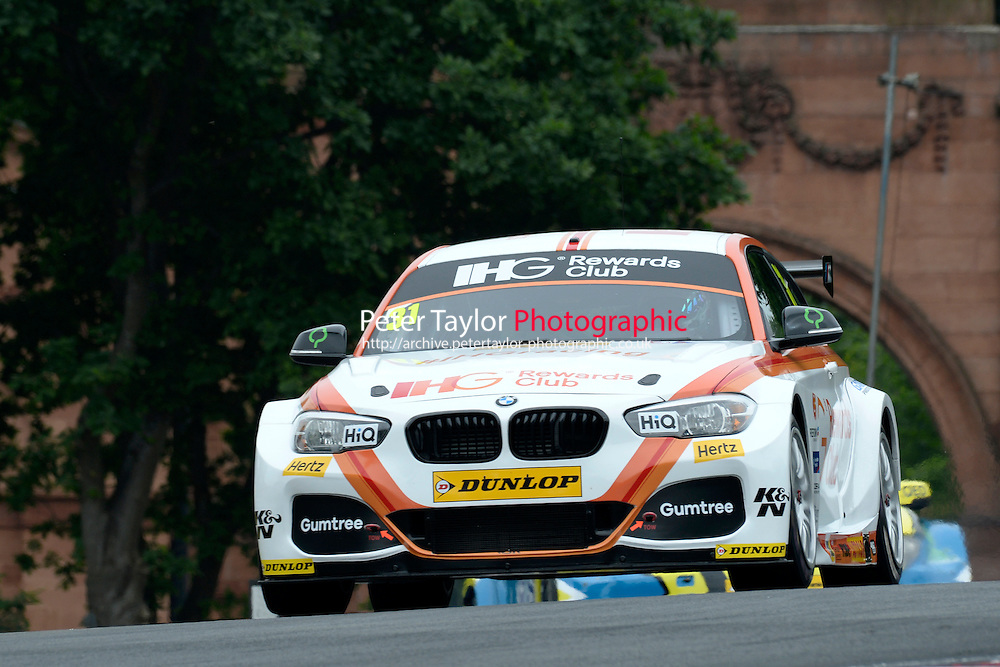 #31 Jack Goff GBR Team IHG Rewards Club BMW 125i M Sport  during first practice for the BTCC Oulton Park 4th-5th June 2016 at Oulton Park, Little Budworth, Cheshire, United Kingdom. June 04 2016. World Copyright Peter Taylor/PSP.
