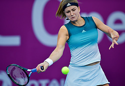 DOHA, Feb. 15, 2019  Karolina Muchova of the Czech Republic hits a return during the women's singles quarterfinal between Elina Svitolina of Ukraine and Karolina Muchova of the Czech Republic at the 2019 WTA Qatar Open in Doha, Qatar, Feb. 14, 2019. Karolina Muchova lost 0-2. (Credit Image: © Nikku/Xinhua via ZUMA Wire)