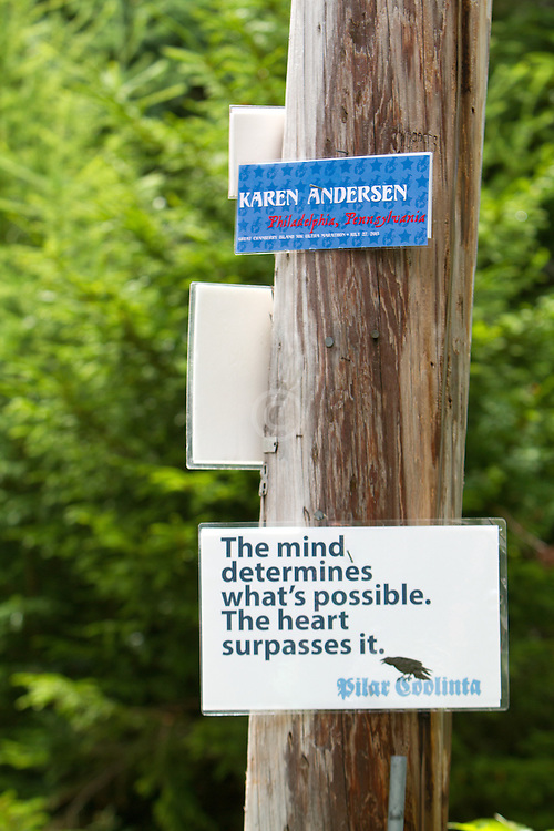 Great Cranberry Island Ultra 50K road race: inspirational sign on post, Karen Andersen