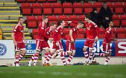 Aberdeen&rsquo;s Peter Pawlett cele scoring their second goal. <br /> half time : St Johnstone 0 v 2 Aberdeen, SPFL Ladbrokes Premiership played 6/2/2016 at McDiarmid Park, Perth.
