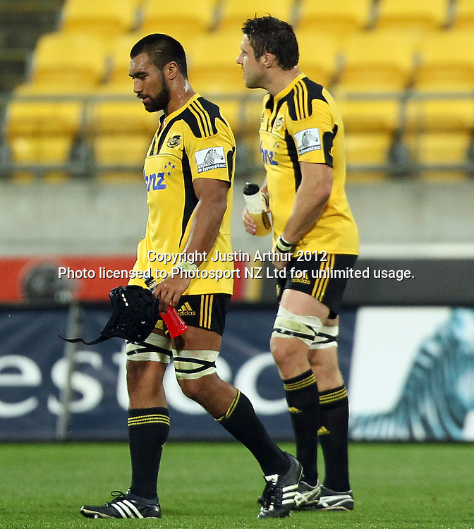 Hurricanes' Victor Vito dejected after the loss. 2012 Super Rugby season, Hurricanes v Highlanders at Westpac Stadium, Wellington, New Zealand on Saturday 17 March 2012. Photo: Justin Arthur / Photosport.co.nz