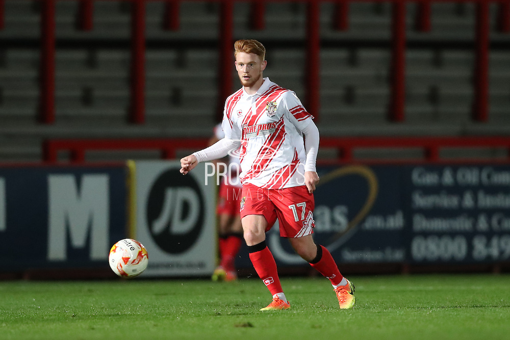 Stevenage midfielder Dale Gorman (17) during the EFL Trophy match between Stevenage and Brighton and Hove Albion at the Lamex Stadium, Stevenage, England on 4 October 2016.