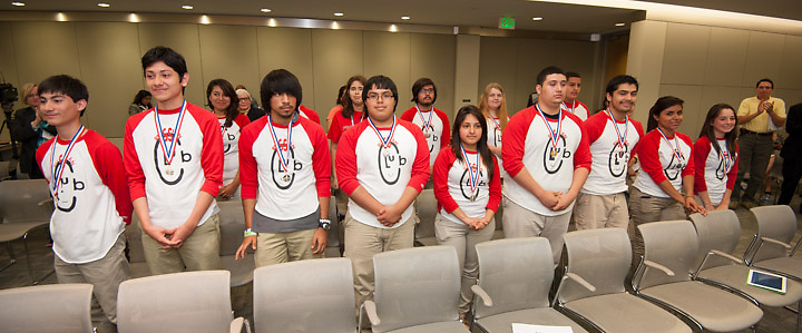 Members of the Furr High School Olympiada Team of Spoken Russian are recognized for outstanding achievement during a Board of Education meeting, May 9, 2013.