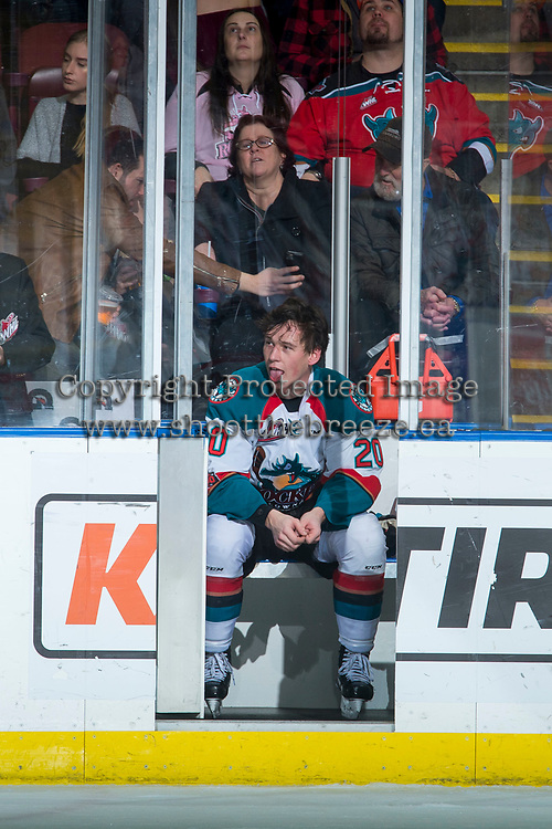 KELOWNA, CANADA - FEBRUARY 24: Conner Bruggen-Cate #20 of the Kelowna Rockets sits in the penalty box during second period against the Kamloops Blazers  on February 24, 2018 at Prospera Place in Kelowna, British Columbia, Canada.  (Photo by Marissa Baecker/Shoot the Breeze)  *** Local Caption ***